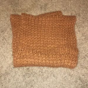 Rust color knit circle scarf